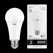 <b>Лампа Gauss LED Elementary</b> A67 30W E27 6500K 1/10/50 ...