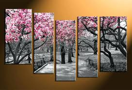 black and white tree wall art 5 piece canvas wall art home decor scenery huge pictures