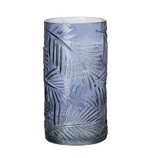 parlane leafprint blue glass vase zoom