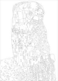 Small Picture Gustav klimt the kiss Master pieces Coloring pages for adults