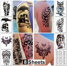 8 Fogli Di Tatuaggi Temporanei Ragazziuomini Tatuaggi Non