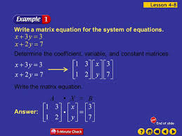 example 8 1a write a matrix equation for the system of equations