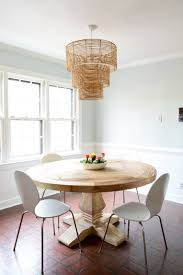 as for how we knew what height to hang it we just googled and read that around 30 32 is standard for a large pendant over a table so we went with 31