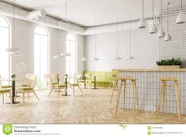Industrial Style Cafe Corner Flower Beds Bar Stock Photo