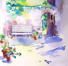 bettina schroeder watercolur bench flower pots