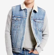 levis mens sherpa lined trucker vest jacket youngstown blue s m