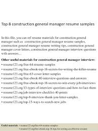 General Resume Outline Top 8 Construction General Manager Resume Samples