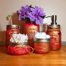 Rose Gold Mason Jar Bathroom Set