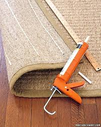 keep rug from sliding on carpet if wanting a more route made adding strips of caulking