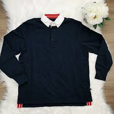 boden london sz l rugby shirt white collar navy blue long sleeve on front