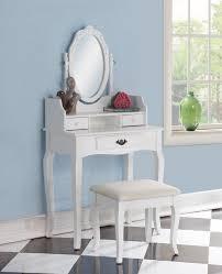 emmett ribbon wood makeup vanity set with mirror