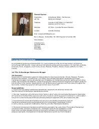 Maintenance Manager Cv - Kleo.beachfix.co
