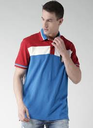 tommy hilfiger blue red colour block polo t shirt