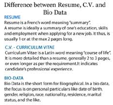 Difference Between Resume Cv Or Definition New Biodata And ...