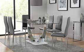 glass dining table chairs sets furniture choice throughout for design 11