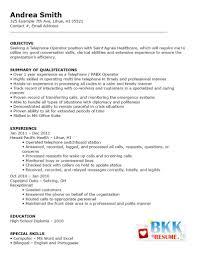 Resume Telephone Operator2 Bkkresume Hospital Switchboard Operator