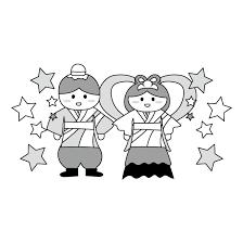 七夕かわいい 織姫と彦星 白黒無料 イラスト 商用フリー