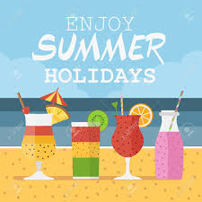 Sand Card Enjoy Summer Holidays Card With Smoothies And Cocktails On Sand