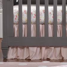 pink and white linen crib bedding liz