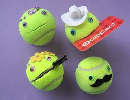 Smiley face tennis ball 'stuff holder'. Use by juliesinspiration, $4.00
