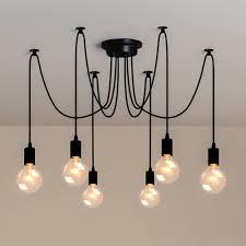 6 head vintage edison multiple ajustable diy ceiling spider lamp light pendant lighting chandelier modern chic industrial dining light bulb is not included
