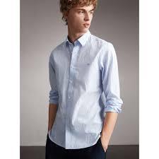 Burberry Light Blue Striped Cotton Blend Shirt Light Blue