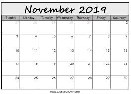 November 2019 Blank Pdf Calendar Calendar Kart