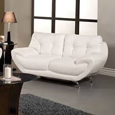 furniture of america volos midcentury white faux leather loveseat