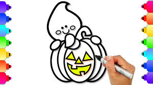 Cute Halloween Coloring Pages For Kids How To Draw A Cute Halloween Pumpkin And Ghost Halloween Coloring Pages For Kids Glitter Art