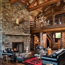 Log cabin interiors designs Rustic Mountain Style Open Concept Living Room Photo In Boise With Standard Fireplace And Stone Bghconcertinfo Small Log Cabin Living Room Ideas Photos Houzz