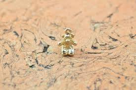 image 1 of 4 gold gilt 3d teddy bear charm pendant sterling
