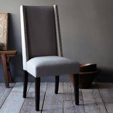 nailhead dining chairs dining room. Dining Room: Glamorous Pair Of Stefini Grey Upholstered Buttoned Chairs Dark Legs On Gray Nailhead Room H