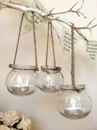 Wedding Tea Light Holders Set Of 3 Clear Glass Hanging Tea Light Holders Candle Jar