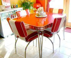 retro dining table set red