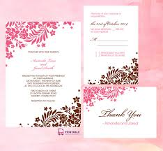 Download Free Wedding Invitation Templates For Word Pink And Brown Foliage Wedding Invitation Free Printable Wedding 9