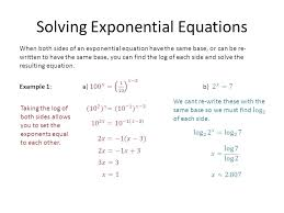 solving equations with logs math 2 solving exponential equations taking the log of both sides allows