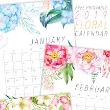 free calendar printable 2019 free printable 2019 floral calendar the cottage market
