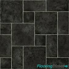 Black Random Tile Effect Vinyl Flooring   Quality Lino AntiSlip Kitchen  Bathroom