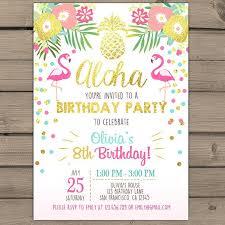 Hawaiian Theme Party Invitations Printable Free Flamingo Invitation