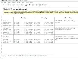 Monthly Workout Schedule Template Weight Training Schedule Template