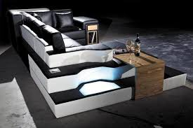 Unique Black Leather Sectional Sofa with Lights and Shelves
