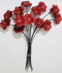 new contemporary metal wall art decor or sculpture on poppy flower metal wall art with red metal flower wall art elitflat