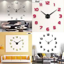 diy office decor. Image Is Loading Modern-DIY-Large-Wall-Clock-3D-Mirror-Surface- Diy Office Decor