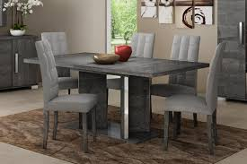 modern venicia collection extending dining table in grey birch look veneer optional chairs thumbnail