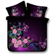 3D Purple Floral Bedding set Rose Flower quilt duvet cover bedspreads  linens bed sheet Cal King Queen size twin Butterfly 4PCS|king queen size| bedding setflowers quilts - AliExpress