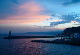 sunset over dinner nice harbour