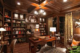 extravagant home office room. Decoration: Gorgeous Chandelier Above Maple Desk And Brown Tufted Chair Beside Tidy Oak Bookshelves On Extravagant Home Office Room