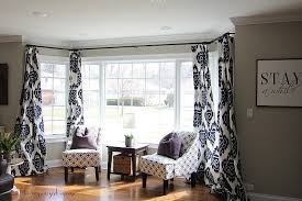 since the bay window is oversized i used ring clips to hang the curtains this will make it easy to open and close the curtains without having them get