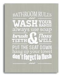 bathroom rules canvas wall art