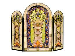 stained glass fireplace screens stained glass fire screen